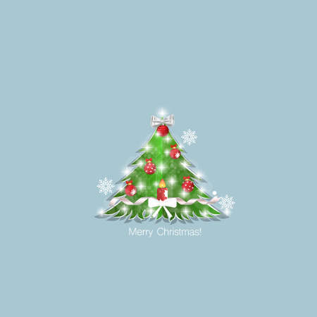 Decorated christmas tree. Holiday background. Merry Christmas and Happy New Year. Vector illustration.