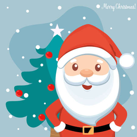 Christmas Santa Claus Cartoon. Merry Christmas and happy new year greeting card. Vector Illustration