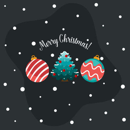 Decorative festive object. Merry Christmas and happy new year. Vector Illustration