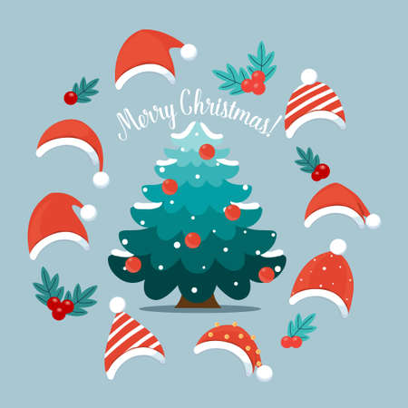 Christmas tree and decorative festive object. Merry Christmas and happy new year. Vector Illustration