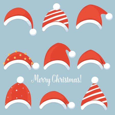 Christmas Santa Claus hats. Merry Christmas and happy new year greeting card. Vector Illustration Ilustração
