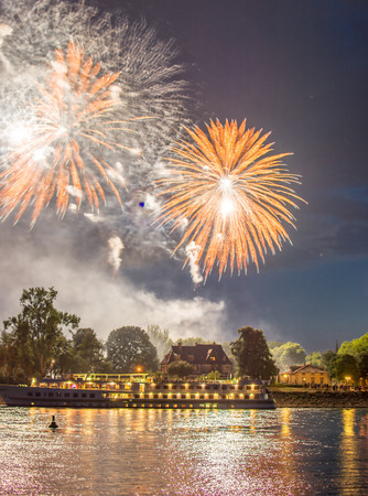 sylvester: Fireworks on the river with a boat