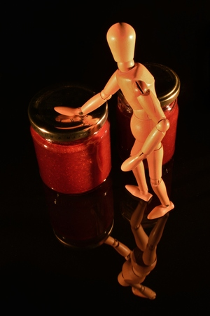 canned fruit: canned fruit with wooden doll