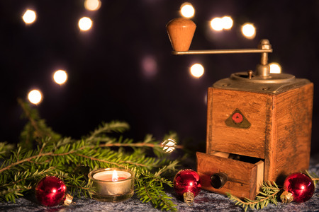 coffee grinder: Christmas with old coffee grinder and candlelight