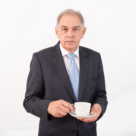 beardless: Man as at official, representative, agent or salesman with coffee cup