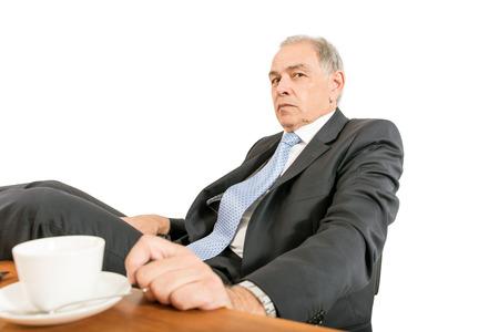 beardless: Man as at official, representative, agent or salesman sitting at a desk
