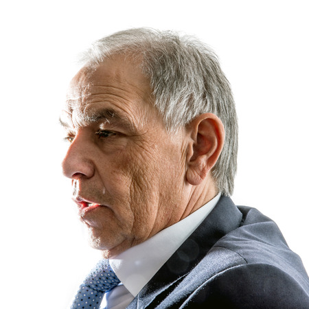 beardless: Face of a man in suit in profile