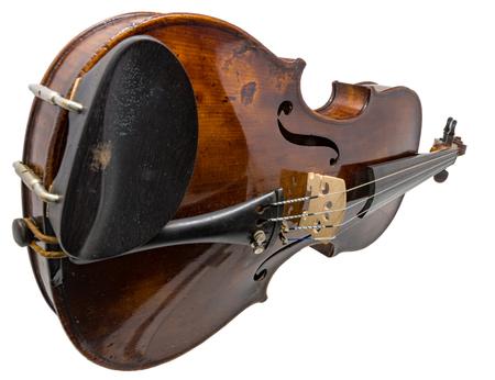 Old dark brown Violin isolated on white Standard-Bild - 116295622