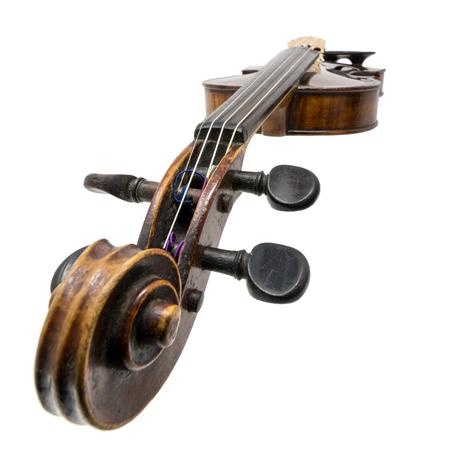 Old dark brown antique Violin isolated on white Standard-Bild - 116295623