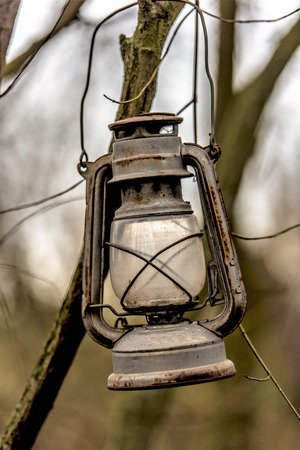 Old rusted kerosene lamp hangs on a branch in a bush 免版税图像