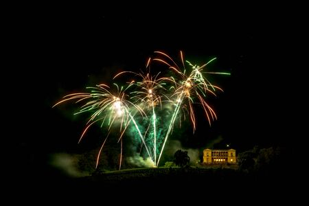 Fireworks over the Villa Ludwigshoehe in Germany Rhineland Palatinate at night