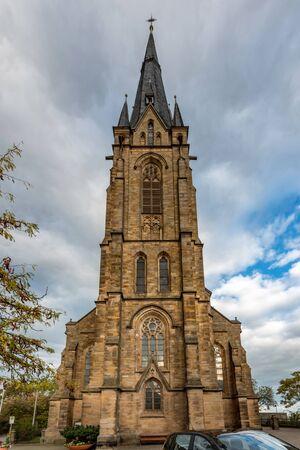 Catholic Church Edenkoben Germany Rhineland Palatinate with cloudy blue sky