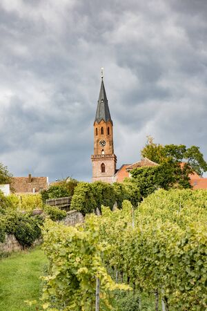 Protestant Church Edenkoben Germany Rhineland Palatinate with cloudy blue sky