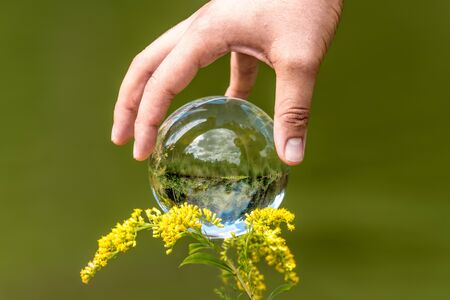 A mans hand reaches for a glass globe with a mirrored lake, trees and cloudy sky against a green background