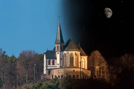 St.Anna chapel on a mountain at day and night in Palatinate Germany with blue sky and moon