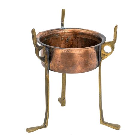 Old oriental censer base made of copper and brass released on white