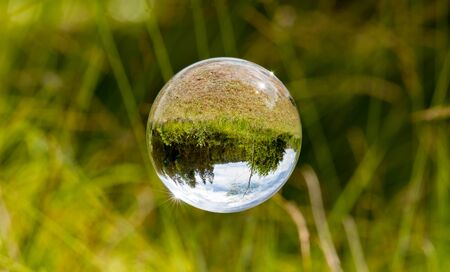 Glass ball floats between blades of grass with mirrored trees and cloudy blue sky Stock fotó