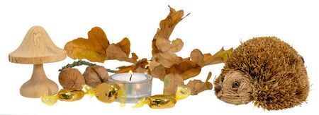 Christmas decoration with autumn leaves, candle, wooden mushroom and straw hedgehog in front of white background
