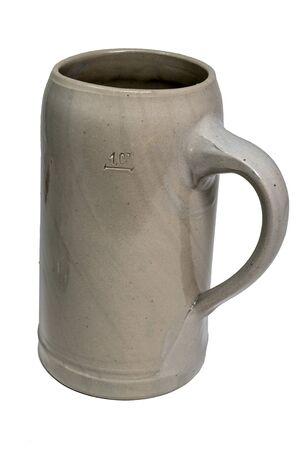 Bavarian Beer Mug made of stoneware with handle isolated on white