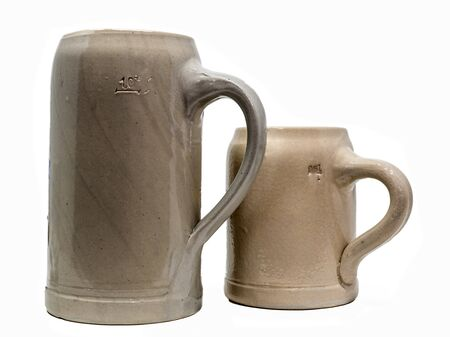 Two Bavarian Beer Mug made of stoneware with handle isolated on white Stock fotó
