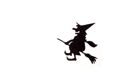Witch,flying on broom on ,on white background photo