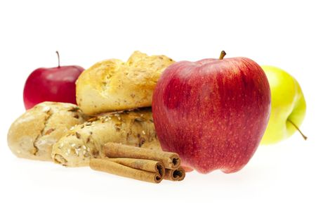 apple, bread and cinnamon photo