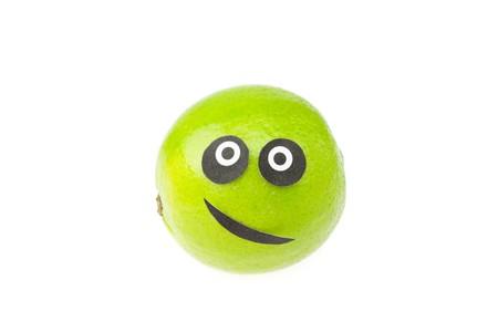 joke lime face isolated on white photo
