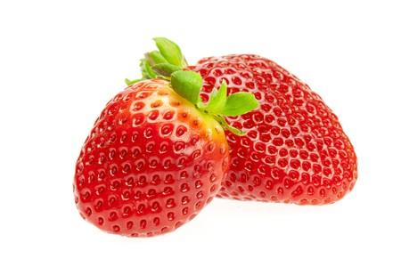 juicy strawberries isolated on white photo