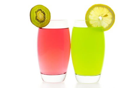 Two cocktails with slices of kiwi and lemon isolated on white