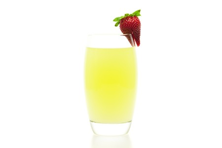 thirsting: cocktail with a slice of strawberry isolated on white
