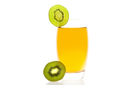 thirsting: cocktail with slices of kiwi isolated on white Stock Photo