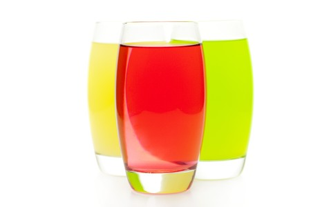 three colored cocktail isolated on white