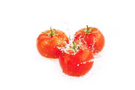 tomatoes with drops of water isolated on white photo