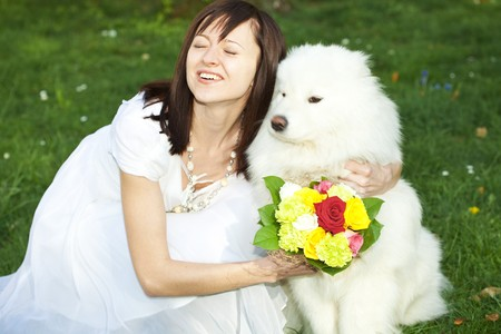 Bride with dog Samoyed sitting on the grass photo