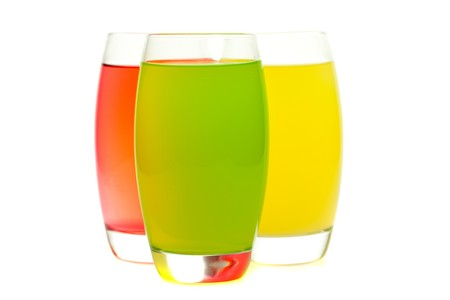 thirsting: colorful cocktails with fruit isolated on white Stock Photo