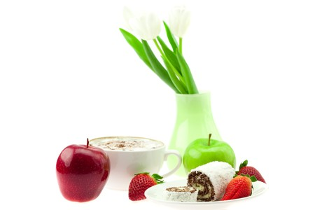 sweet rolls and strawberry on a saucer cup of cappuccino vase with tulips flower and apple isolated on white Stock Photo - 7778362