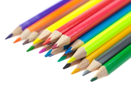 colored pencils isolated on white Stock Photo - 7898298