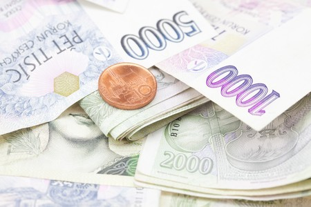 stack of paper money and coins Stock Photo - 7982372