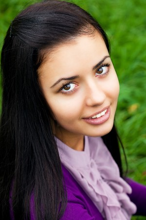 portrait of beautiful  teenager woman  outdoor photo