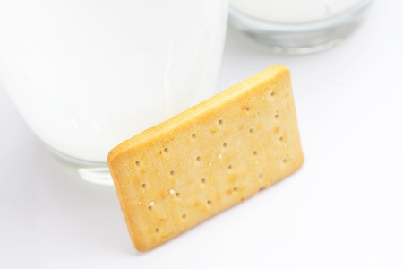 two glasses of milk and cookies on a gray background Stock Photo - 8230568