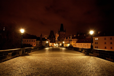 a beautiful night view of the Charles Bridge in Prague photo