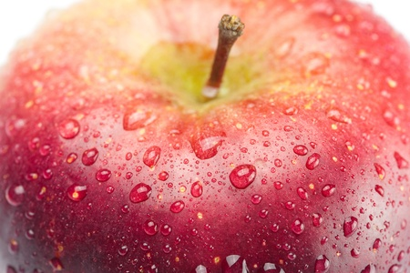 red apple with water drops isolated on white photo
