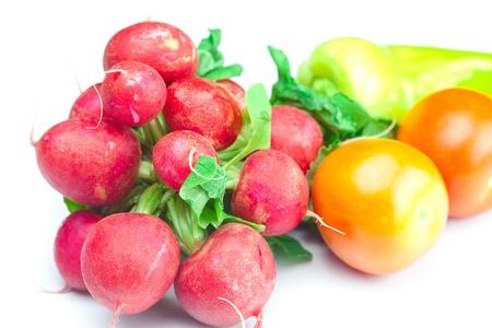 radish, tomato and pepper isolated on white photo