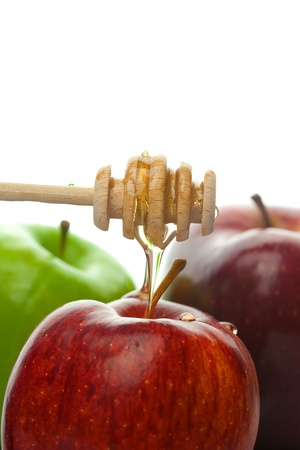 stick to honey and apples isolated on white Stock Photo - 9038238