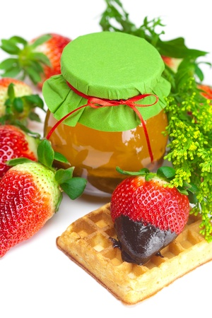 big juicy ripe strawberries in chocolate, a jar of honey and waffles isolated on white Stock Photo - 9084498