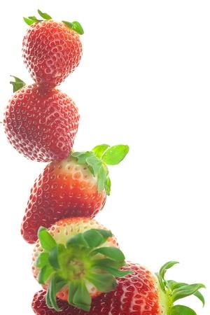 Mountain big juicy strawberries isolated on white photo