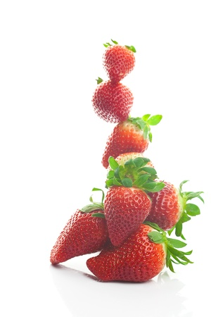 Mountain big juicy strawberries isolated on white Stock Photo - 9084412