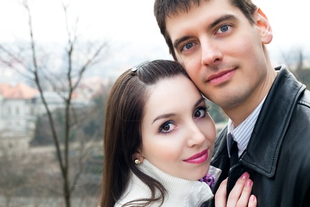 beautiful young love couple in city Prague Stock Photo - 9085046