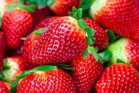 strawberries: background of red big juicy ripe strawberries Stock Photo