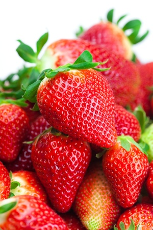 background of red big juicy ripe strawberries photo